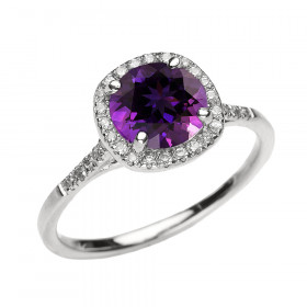 1.12ct Amethyst Halo Engagement Ring in 9ct White Gold