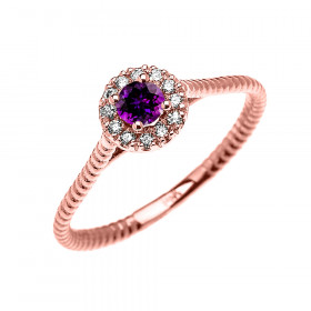 0.08ct Amethyst Halo Rope Design Promise Twisted Rope Ring in 9ct Rose Gold