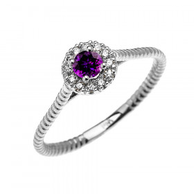 0.08ct Amethyst Halo Rope Promise Twisted Rope Ring in 9ct White Gold