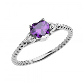 0.6ct Amethyst Heart Beaded Band Promise Ring in 9ct White Gold