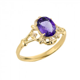 Amethyst Oval Ring in 9ct Gold