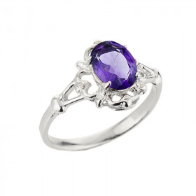 Amethyst Oval Ring in 9ct White Gold