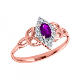 0.2ct Amethyst Oval Trinity Knot Halo Ring in 9ct Rose Gold