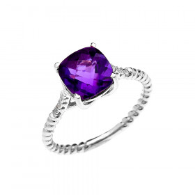 2.0ct Amethyst Promise Twisted Rope Ring in 9ct White Gold