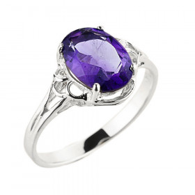Amethyst Ring in 9ct White Gold