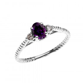0.25ct Amethyst Rope Design Promise Twisted Rope Ring in 9ct White Gold