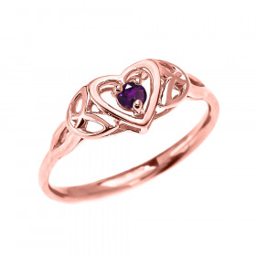 0.08ct Amethyst Trinity Knot Heart Ring in 9ct Rose Gold