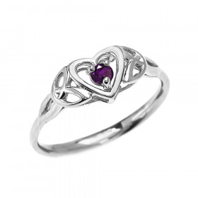 0.08ct Amethyst Trinity Knot Heart Ring in 9ct White Gold