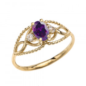 0.25ct Amethyst and White Topaz Elegant Beaded Ring in 9ct Gold