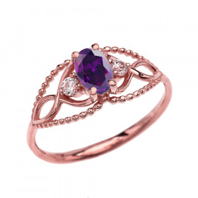 0.25ct Amethyst and White Topaz Elegant Beaded Ring in 9ct Rose Gold