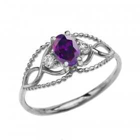 0.25ct Amethyst and White Topaz Elegant Beaded Ring in 9ct White Gold