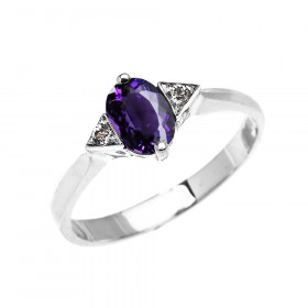 0.5ct Amethyst and White Topaz Oval Engagement Ring in 9ct White Gold