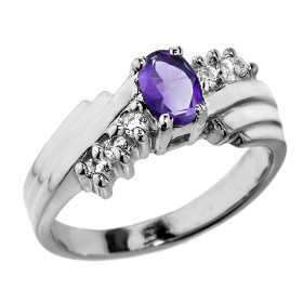 0.5ct Amethyst and White Topaz Ring in Sterling Silver