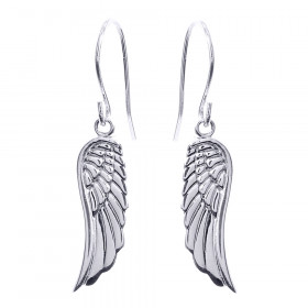 Angel Wings Drop Earrings in 9ct White Gold