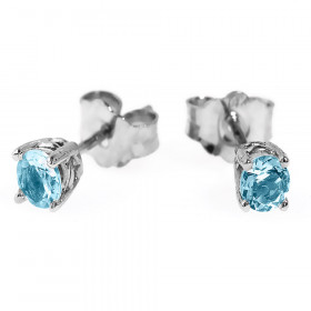 Aquamarine 4-Prong Light Blue Stud Earrings in 9ct White Gold