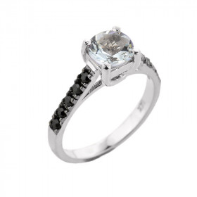 1.0ct Aquamarine and Black Diamond Engagement Ring in 9ct White Gold