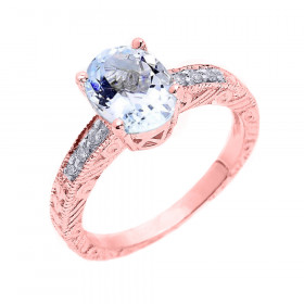 1.12ct Aquamarine and Diamond Art Deco Engagement Ring in 9ct Rose Gold