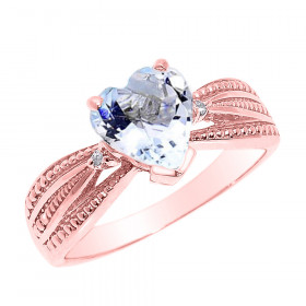1.0ct Aquamarine and Diamond Beauty Engagement Ring in 9ct Rose Gold