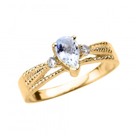 0.3ct Aquamarine and Diamond Engagement Ring in 9ct Gold