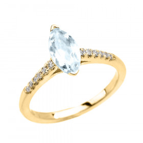 0.75ct Aquamarine and Diamond Engagement Ring in 9ct Gold