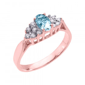 0.4ct Aquamarine and Diamond Engagement Ring in 9ct Rose Gold