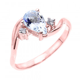 0.63ct Aquamarine and Diamond Engagement Ring in 9ct Rose Gold