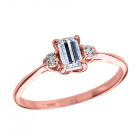 0.25ct Aquamarine and Diamond Engagement Ring in 9ct Rose Gold