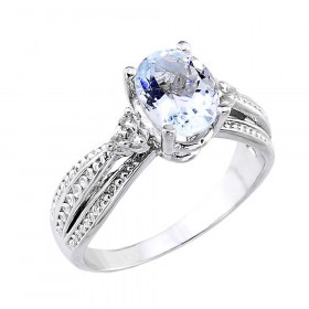 1.12ct Aquamarine and Diamond Engagement Ring in 9ct White Gold