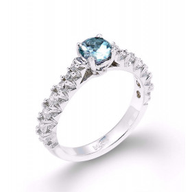 Aquamarine and Diamond Engagement Ring in 9ct White Gold