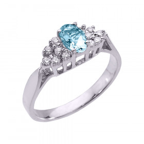 0.4ct Aquamarine and Diamond Engagement Ring in 9ct White Gold