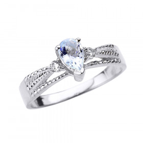 0.3ct Aquamarine and Diamond Engagement Ring in 9ct White Gold
