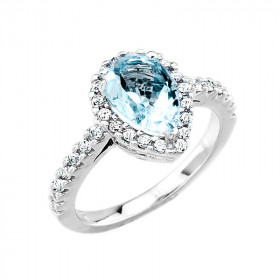 1.33ct Aquamarine and Diamond Halo Engagement Ring in 9ct White Gold