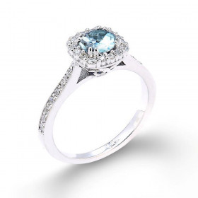 Aquamarine and Diamond Halo Engagement Ring in 9ct White Gold