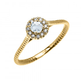 0.08ct Aquamarine and Diamond Halo Rope Promise Twisted Rope Ring in 9ct Gold