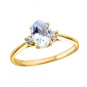 0.6ct Aquamarine and Diamond Oval Engagement Ring in 9ct Gold