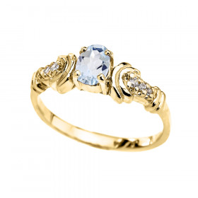 0.25ct Aquamarine and Diamond Oval Engagement Ring in 9ct Gold
