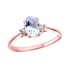 0.6ct Aquamarine and Diamond Oval Engagement Ring in 9ct Rose Gold