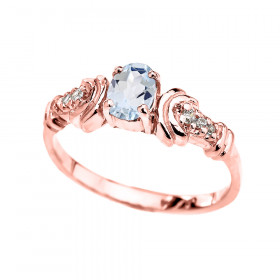 0.25ct Aquamarine and Diamond Oval Engagement Ring in 9ct Rose Gold