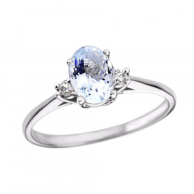 0.6ct Aquamarine and Diamond Oval Engagement Ring in 9ct White Gold