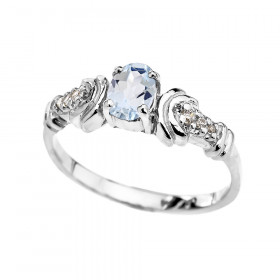 0.25ct Aquamarine and Diamond Oval Engagement Ring in 9ct White Gold