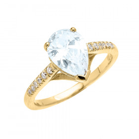 1.5ct Aquamarine and Diamond Pear Shape Engagement Ring in 9ct Gold