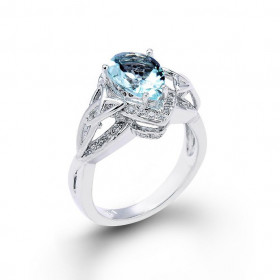 Aquamarine and Diamond Pear Shape Engagement Ring in 9ct White Gold