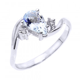 0.63ct Aquamarine and Diamond Pear Shape Engagement Ring in 9ct White Gold