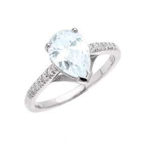 1.5ct Aquamarine and Diamond Pear Shape Engagement Ring in 9ct White Gold