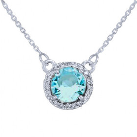 1.0ct Aquamarine and Diamond Pendant Necklace in 9ct White Gold