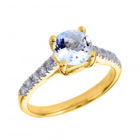 1.0ct Aquamarine and Diamond Solitaire Engagement Ring in 9ct Gold