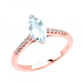 0.75ct Aquamarine and Diamond Solitaire Engagement Ring in 9ct Rose Gold