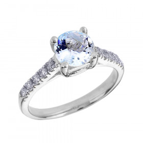 1.0ct Aquamarine and Diamond Solitaire Engagement Ring in 9ct White Gold