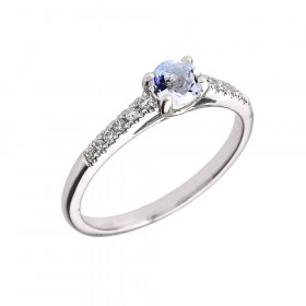 0.5ct Aquamarine and Diamond Solitaire Engagement Ring in 9ct White Gold