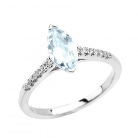 0.75ct Aquamarine and Diamond Solitaire Engagement Ring in 9ct White Gold